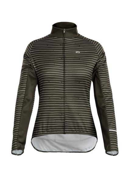 SUGOI Women's Evolution Zap Long Sleeve (L/S) Jersey, Olive Pen Stripe (U675020F)