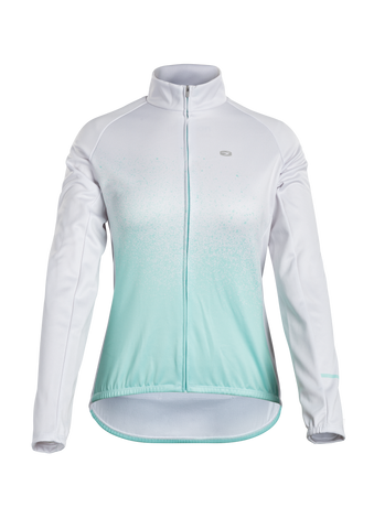 SUGOI Women's Evolution Zap Long Sleeve (L/S) Jersey, Teal Atomizer print (U675020F)
