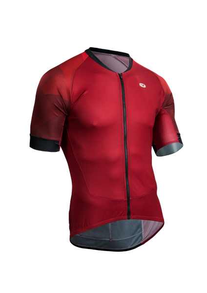 SUGOI Men's RS Training Jersey, Red Dahlia/Mountain Print (U575510M)