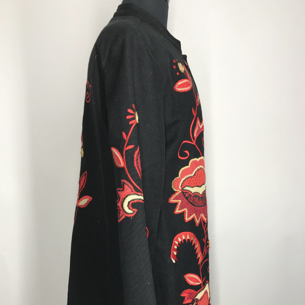 Black 3/4 Length Embroided Jacket