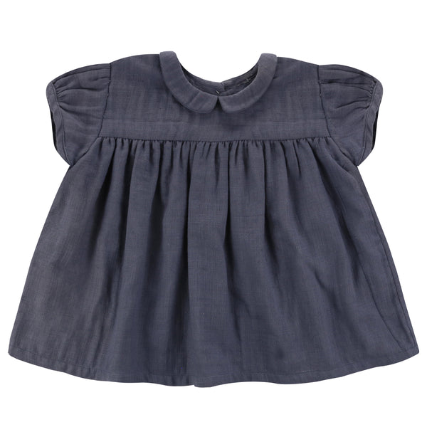 Juno Blouse - Textured Muslin In Ink - Mabel Child