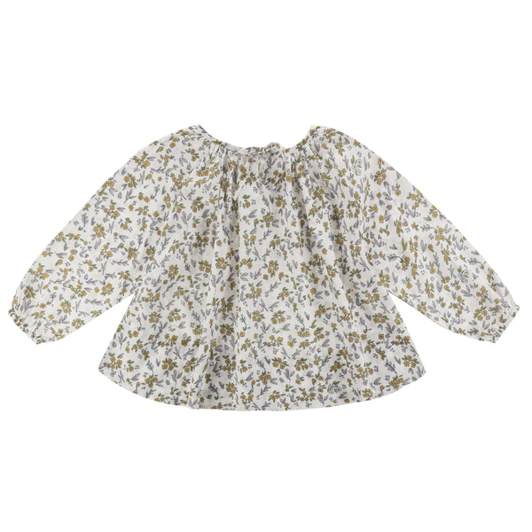 Olive Smock Blouse - Yellow Meadow Floral - Mabel Child