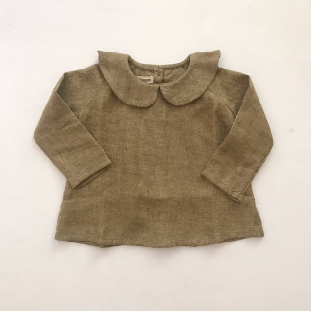 Peter Pan Collar Shirt - Brown Brushed Linen - Mabel Child