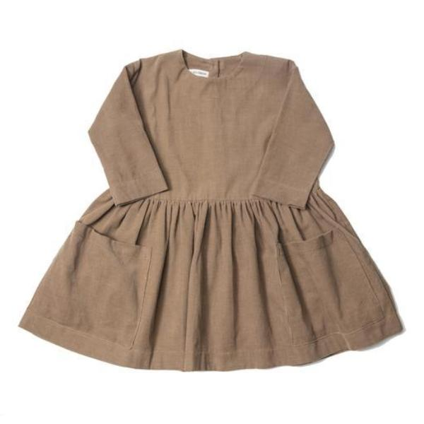 Pocket Dress - Taupe Corduroy - Mabel Child