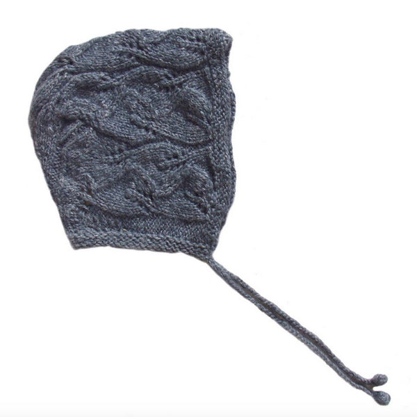 Alpaca Leaf Bonnet - Slate Blue - Mabel Child