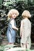 Linen Sibling Overall - Grey & White Stripted - Mabel Child