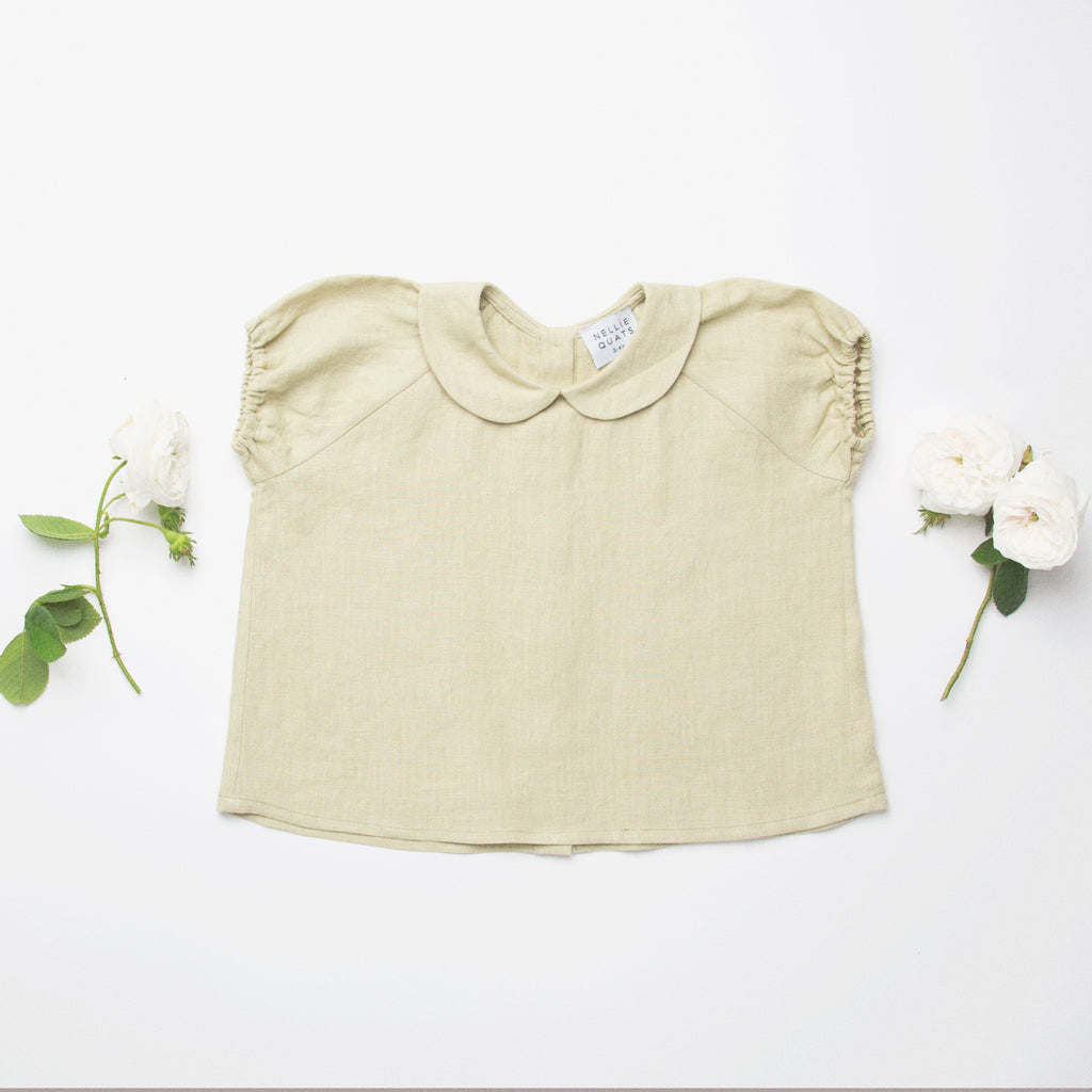 Duck Duck Goose Blouse - Soft Sage Linen - Mabel Child