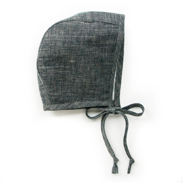 Cotton Liberty Bonnet: Charcoal 0M-4Y - Mabel Child