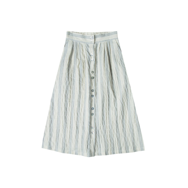 Stormy Blue Stripe Midi Skirt - Mabel Child