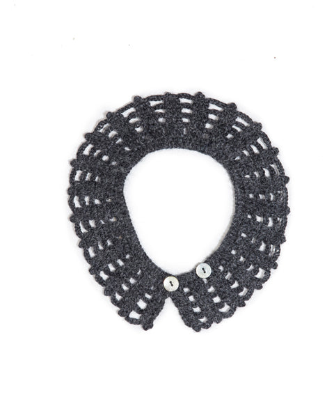 Crocheted Colloar In Charcoal - Mabel Child