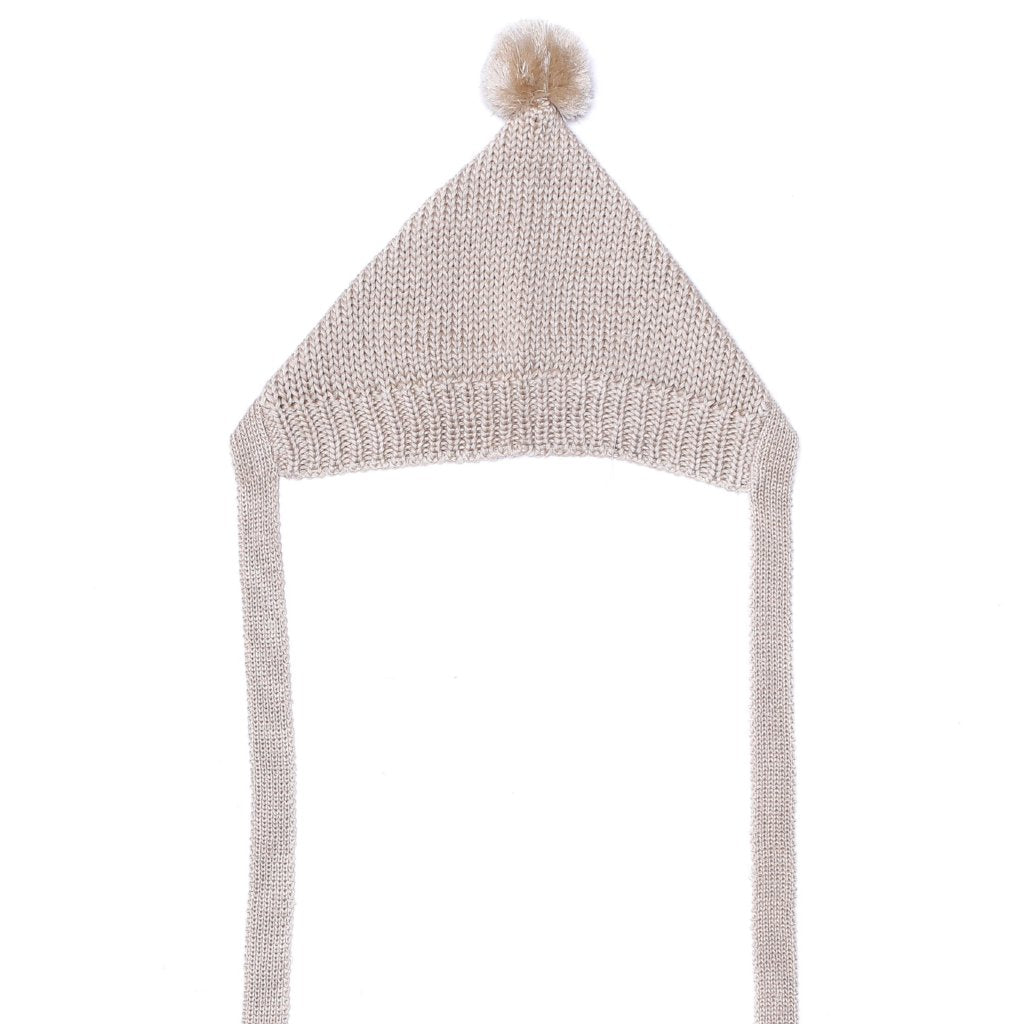 Pom Pom Bonnet In Oat - Mabel Child