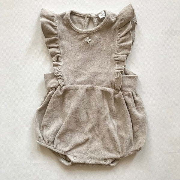 Terry Fabric Romper , Light Tan - Mabel Child
