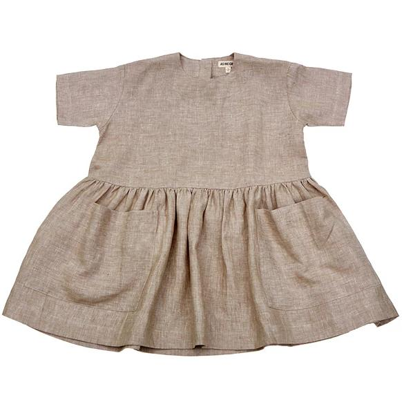 Linen Pocket Dress - Beige - Mabel Child