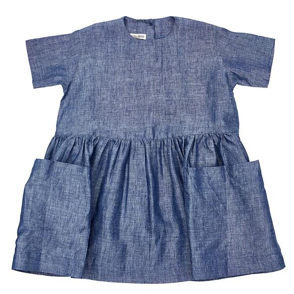 Linen Pocket Dress - Blue - Mabel Child