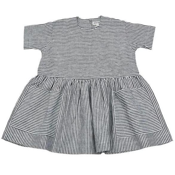Linen Pocket Dress - Grey & White Striped - Mabel Child