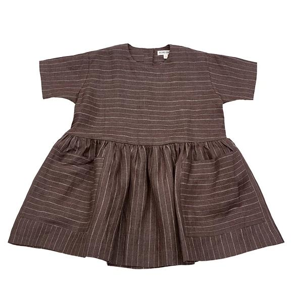 Linen Pocket Dress - Brown/Pinstripted - Mabel Child