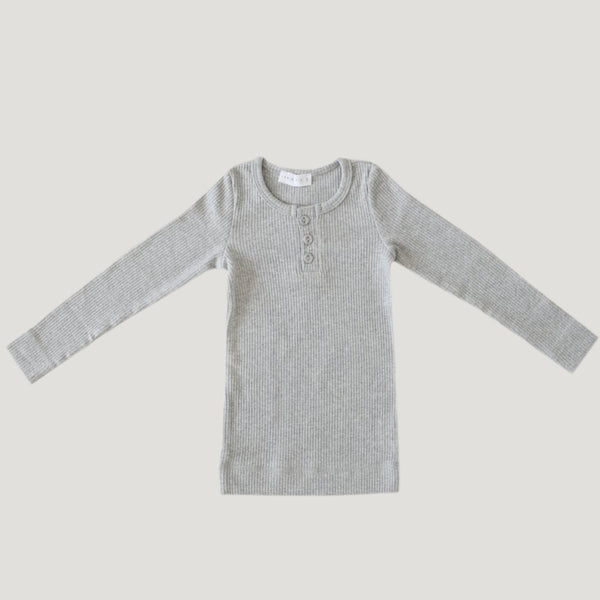 Cotton Modal Henley - Light Grey Marle - Mabel Child