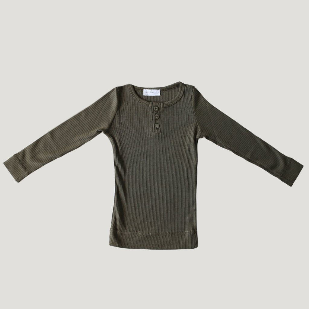 Cotton Modal Henley - Olive - Mabel Child