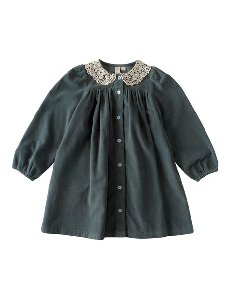 Delia Dress With Lace Collar - In Blue - Mabel Child