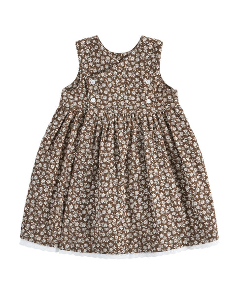 Aida Pinafore - Floral Cord Nut - Mabel Child