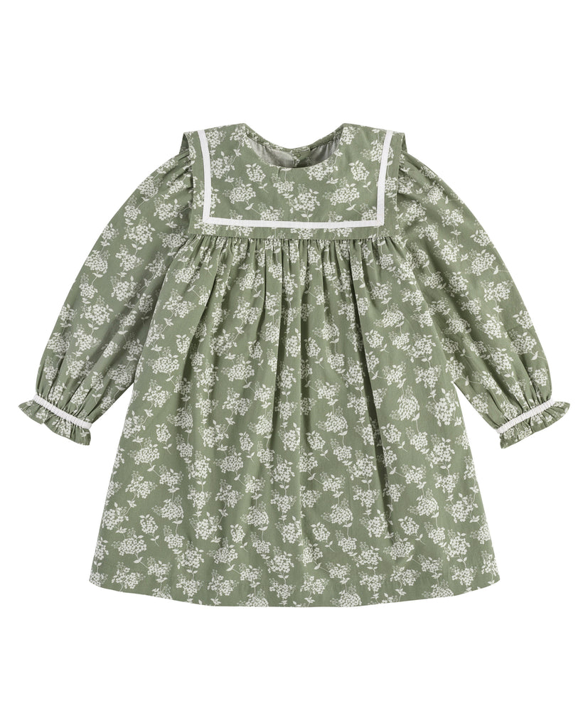 Jemima Salior Collar Dress - Green Hydrangea Floral - Mabel Child