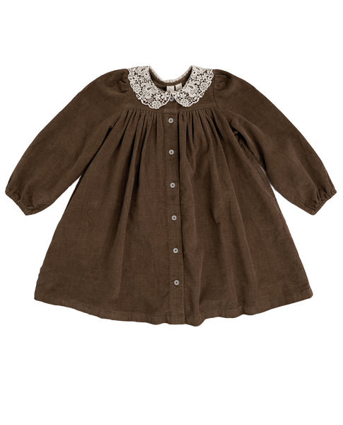 Delia Dress - Nut Velvet With A Cotton Lace Collar - Mabel Child