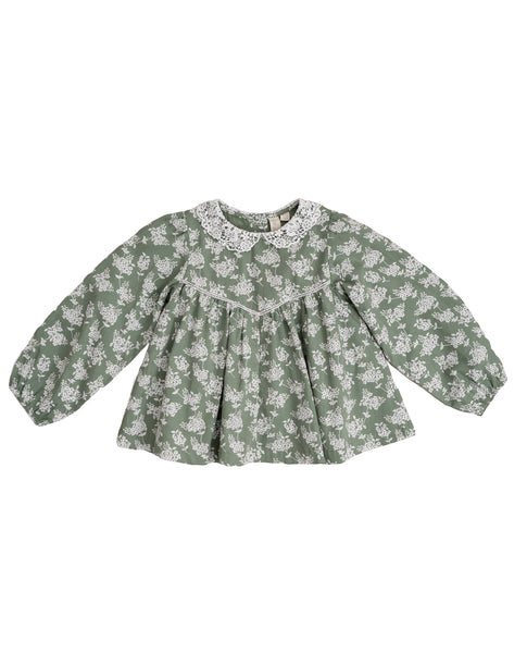 Marcie Blouse - Green Hydrangea Floral With Cotton Lace Collar - Mabel Child