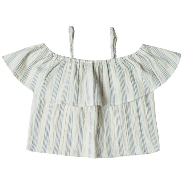 Off The Shoulder Stormy Blue Stripe Top