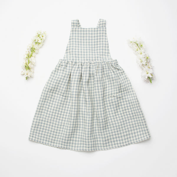 Conkers Pinafore Dress - Blue Check Linen - Mabel Child