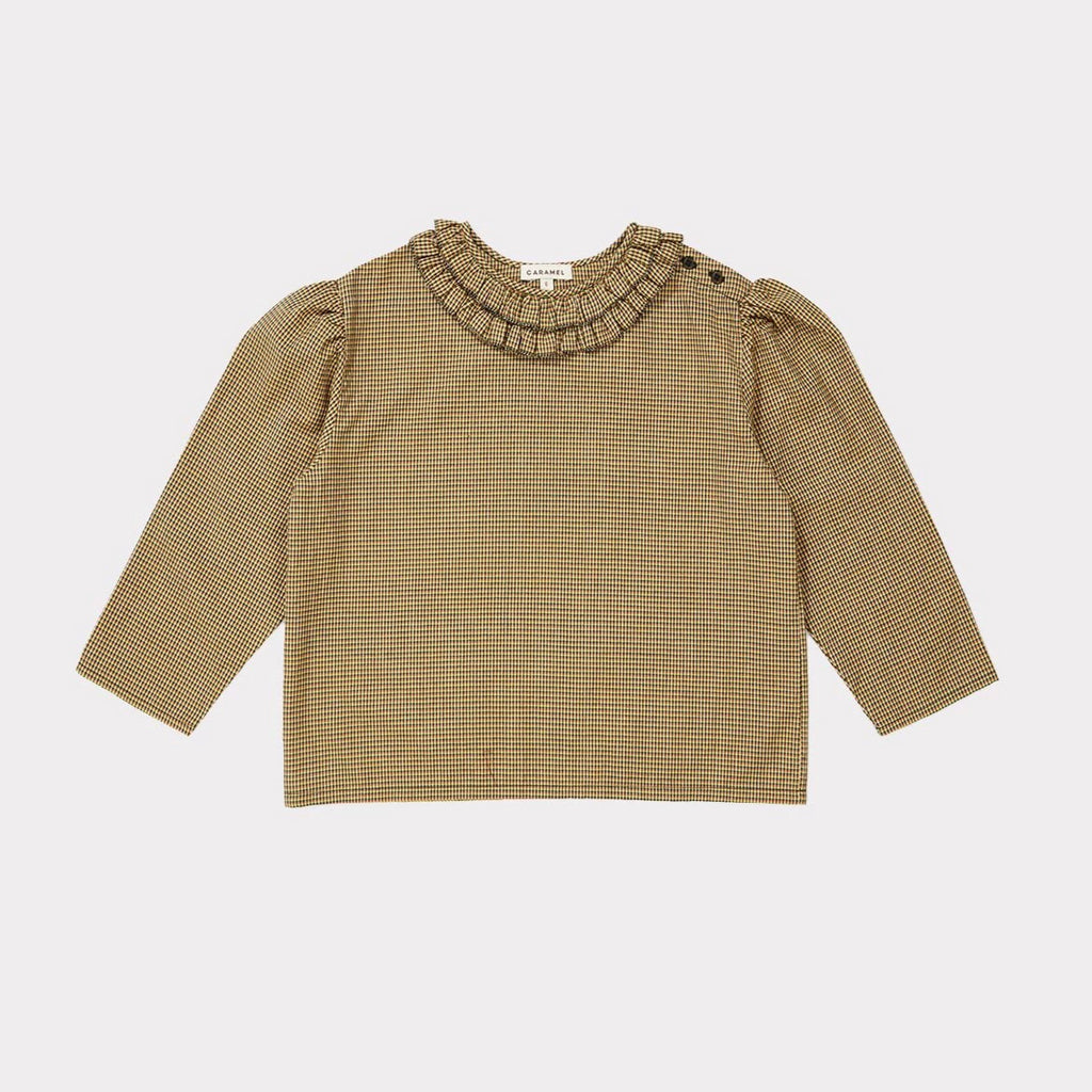 Hestia Blouse - Forest Microcheck - Mabel Child