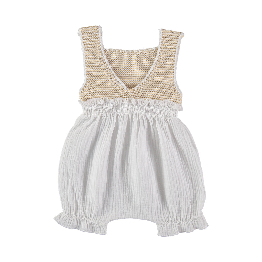 Knit Comi Romper - Off White + Vanilla - Mabel Child
