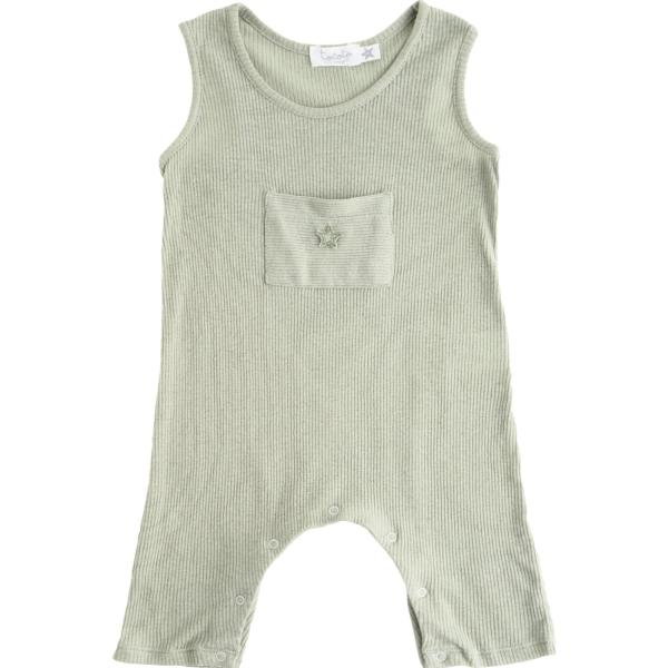 Ribbed Romper , Pale Green - Mabel Child