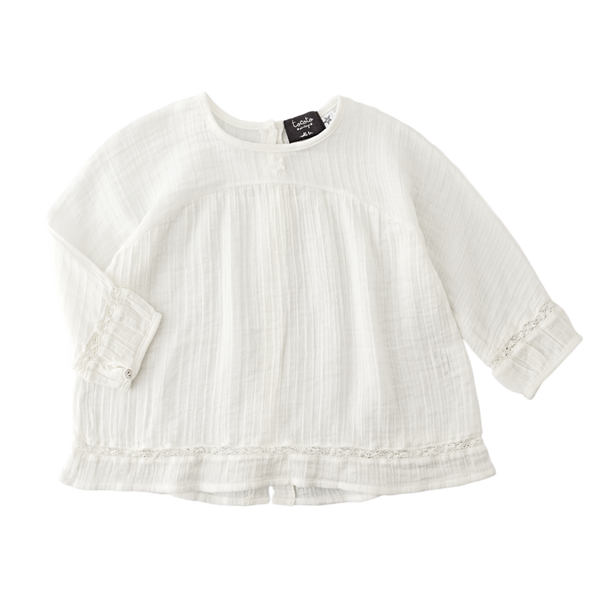 White Blouse 3/4 Sleeves Botton Lace - Mabel Child