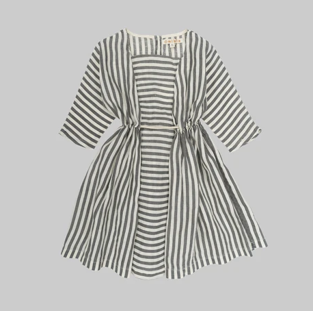 SOPHIA Dress - Flax Stripes - Mabel Child