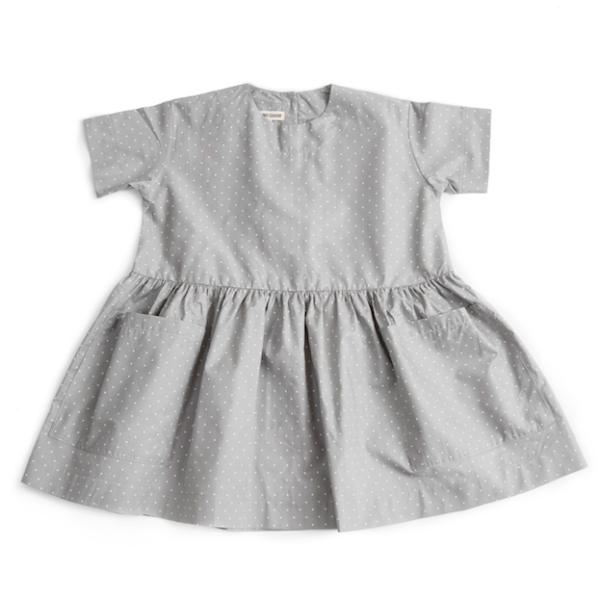 Pocket Dress-Short Sleeve Grey Dot Striped - Mabel Child