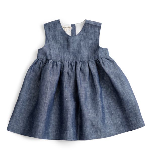 Blue Linen Sleeveless Dress - Mabel Child