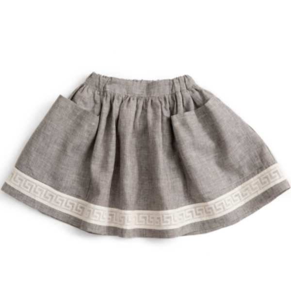Check Linen Ribbon Pocket Skirt - Mabel Child