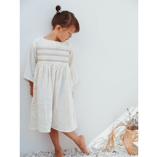 Embro Liilu Dress - Cru Natural - Mabel Child
