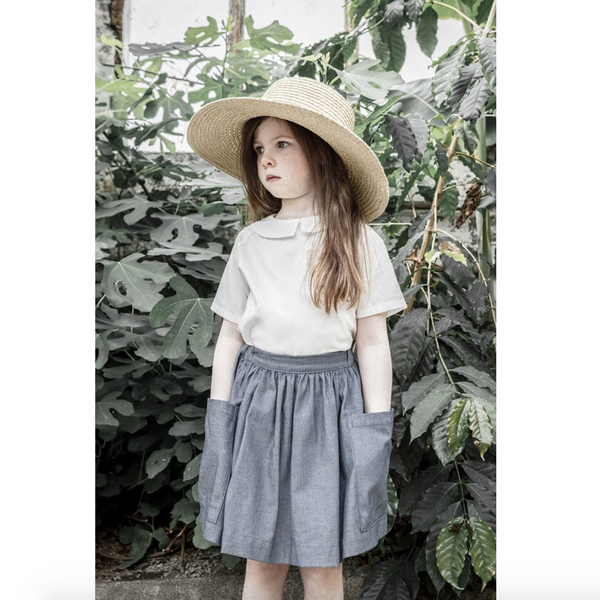 Pocket Skirt - Blue Herringbone Denim - Mabel Child