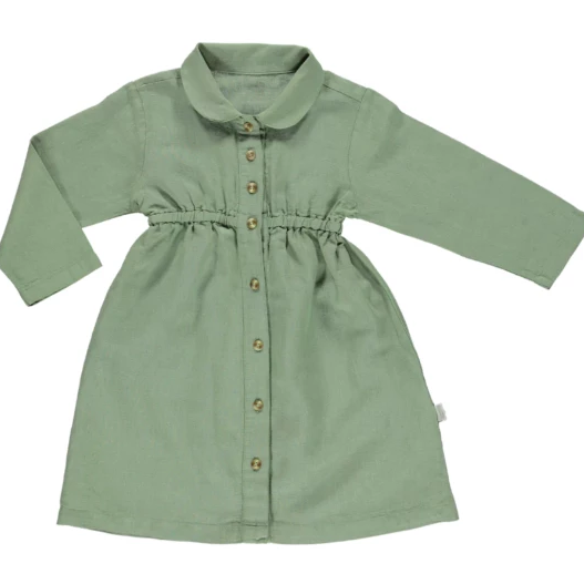 Anemone Linen Dress - Oil Green - Mabel Child