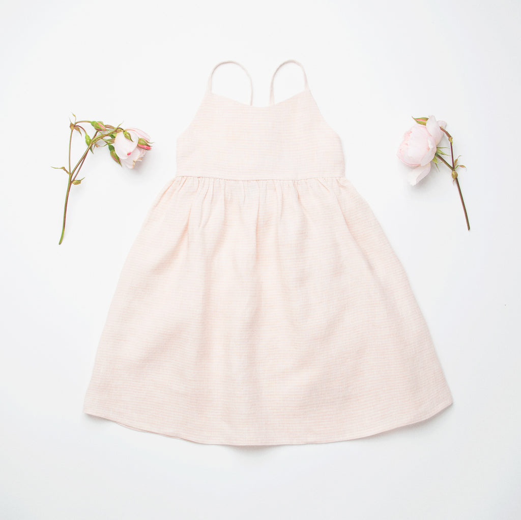 Daisy Chain Dress - Pale Pink Stripe Linen - Mabel Child