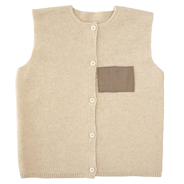 Knitted Sleeveless Cardigan - Mabel Child