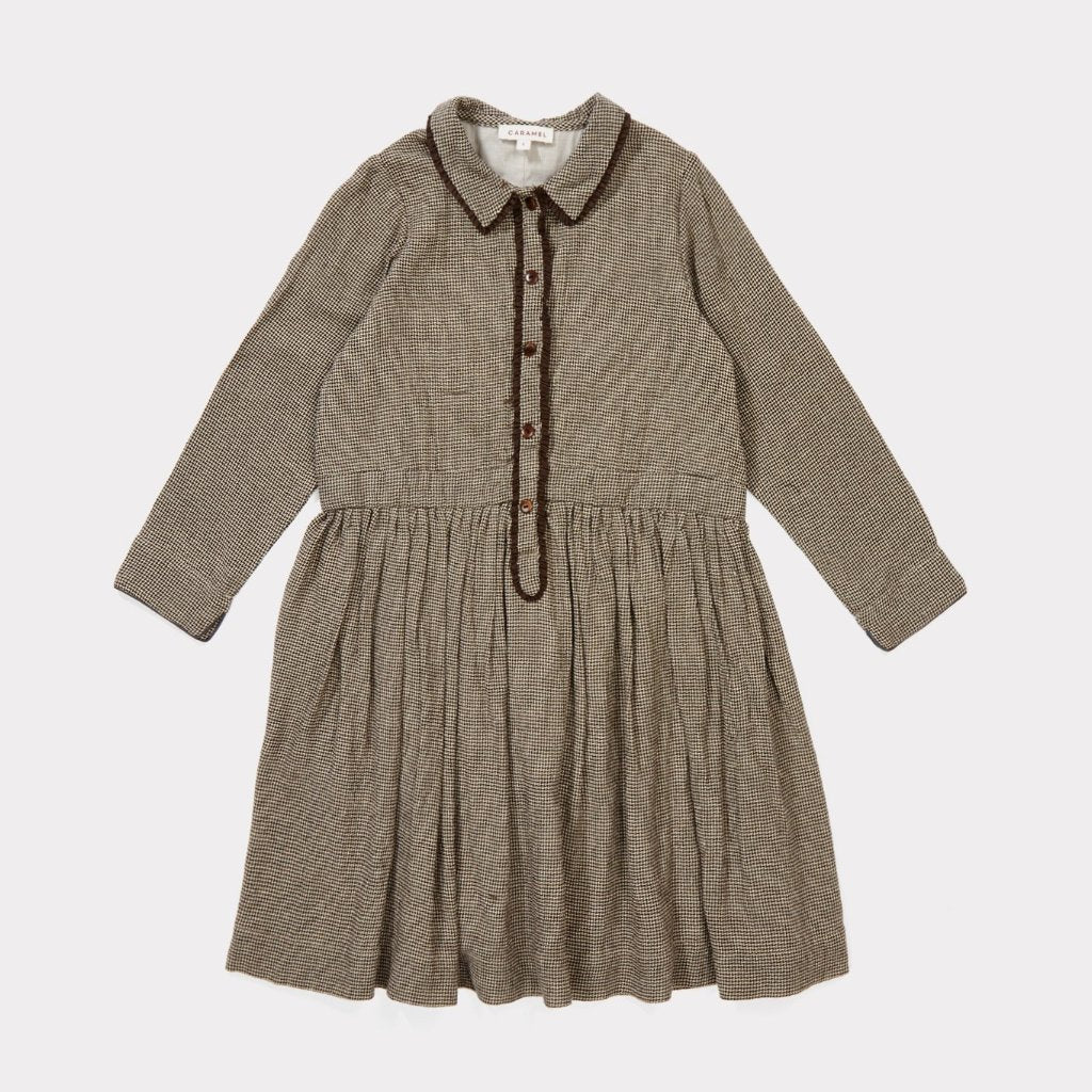Antelope Dress - Dark Brown Micro Houndstooth - Mabel Child