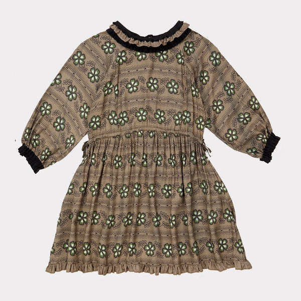Artemis Dress- Poka Flower Print Putty - Mabel Child