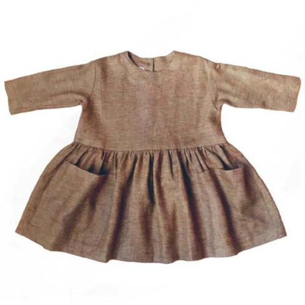 Pocket Dress - Brown Brushed Linen - Mabel Child