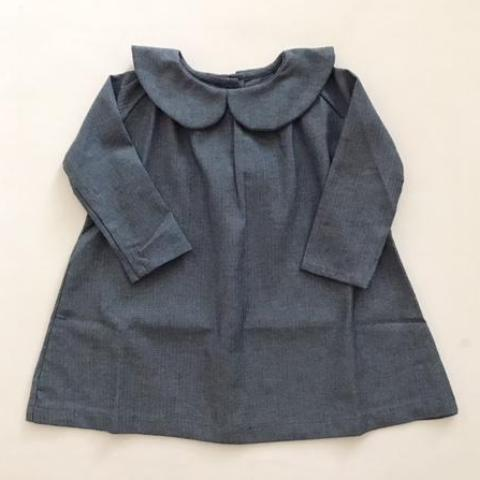 Peter Pan Collar Dress - Blue Herringbone - Mabel Child