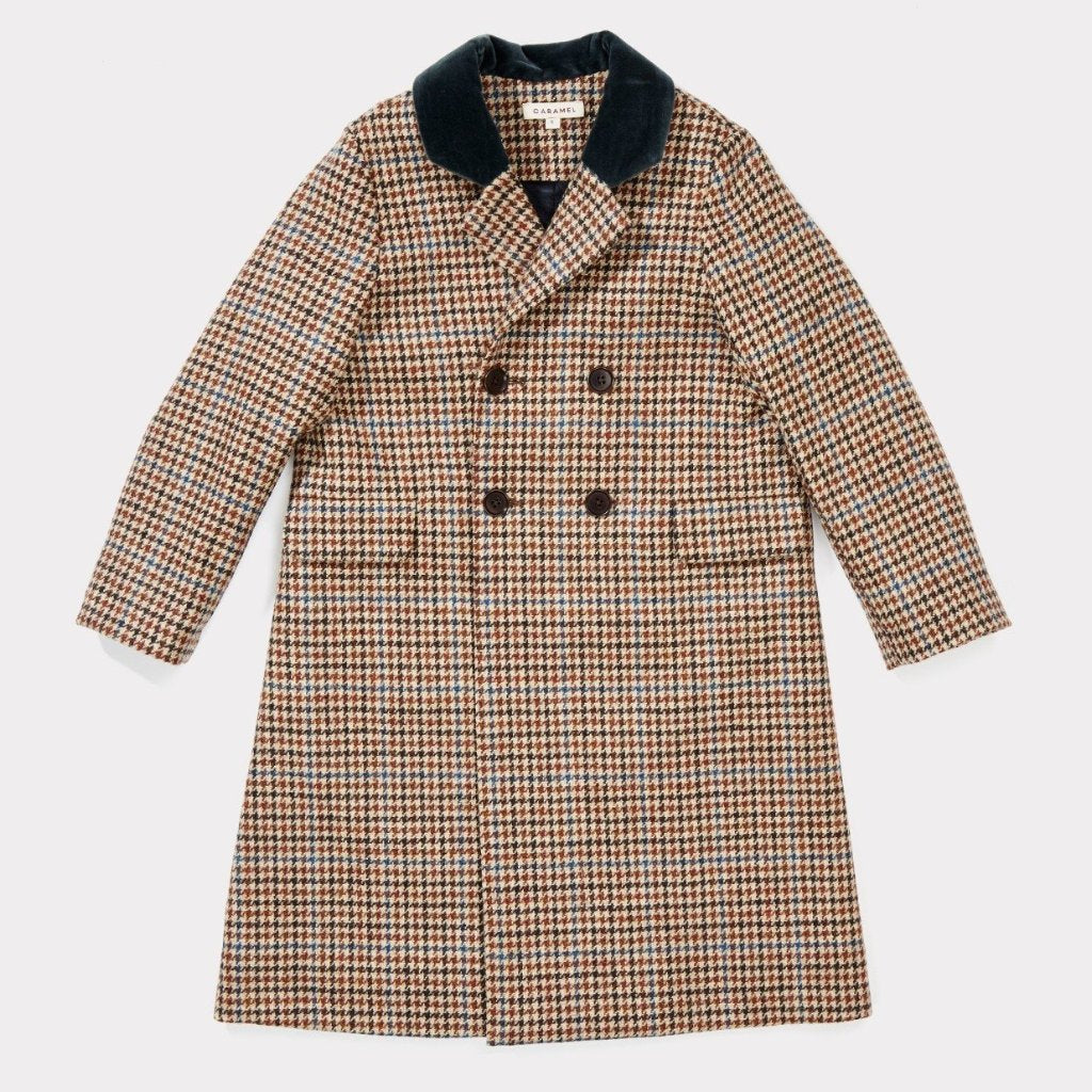 Bear Coat, Beige Wool Check - Mabel Child