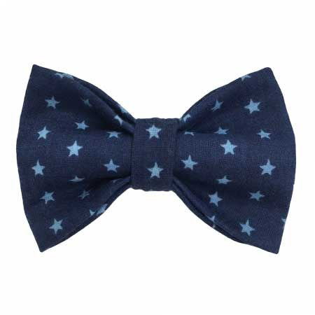 Bow Tie: Blue Cotton with Pastel-Blue Stars 1-8Y - Mabel Child