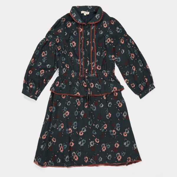 Gazella Dress, Dark Teal Painted Flower - Mabel Child