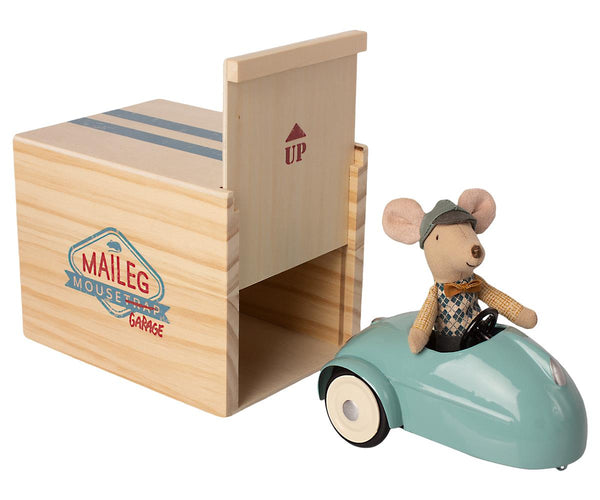 Mouse Car With Garage - Blue - Mabel Child